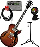 Ibanez AGS73FMVLS AGS Artcore Semi Hollow Electric Guitar Violin Sunburst w/ Cable, Geartree Cloth, Stand, and Tuner