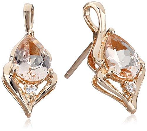 10k Rose Gold Morganite and Created White Sapphire (Morganite Set Earrings)