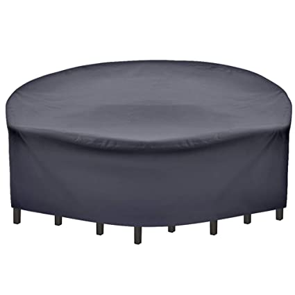 225 & SUNRAIN Patio Furniture Covers Waterproof Outdoor Patio Cover Round-with Strap-for Round Patio Table Chair Set Cover 96 Inch Diameter
