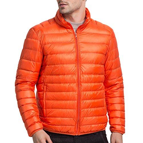 Warm Stand Orange Lightweight Mens Walking Laixing Boys Zipped Outwear Jacket Winter Collar Down n1wRa4W