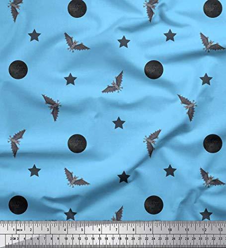 Soimoi Blue Georgette Viscose Fabric Moon,Star & Bats Halloween Print Sewing Fabric BTY 42 Inch Wide -