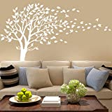 white tree decals - Large Tree Blowing in The Wind Tree Wall Decals Wall Sticker Vinyl Art Kids Rooms Teen Girls Boys Wallpaper Murals Sticker Wall Stickers Nursery Decor Nursery Decals (White)