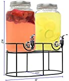 Estilo 1 gallon Glass Mason Jar Double Beverage Drink Dispenser On Metal Stand With Leak Free Spigot, Clear