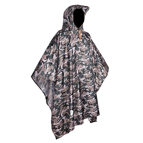 (Anyoo Waterproof Rain Poncho Lightweight Reusable Hiking Hooded Coat Jacket for Outdoor Activities )