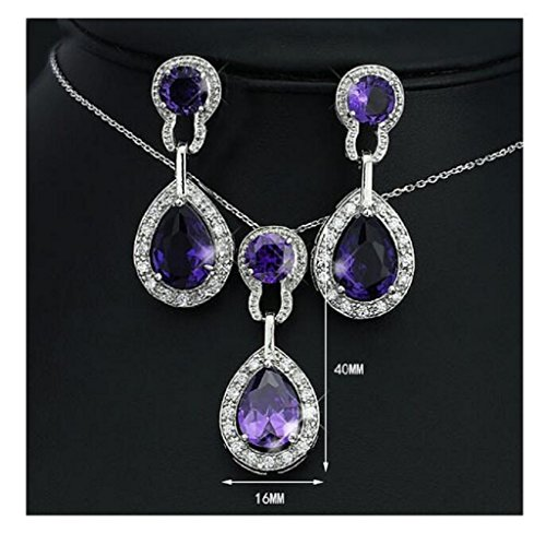 Yuriao Jewelry Elegant Luxury Diamond Accented Water Drop Crystal Necklace And Earrings(purple)