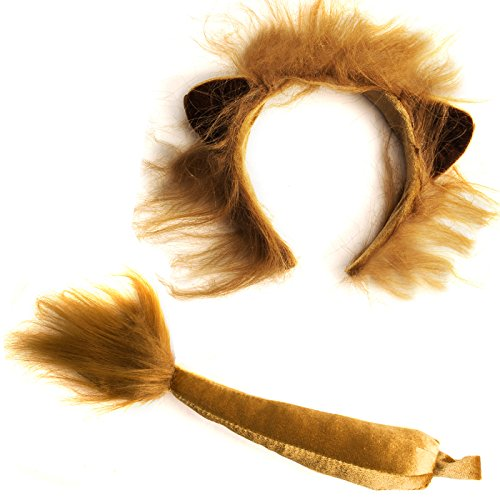 Funny Party Hats Lion Ears and Tail Set - Lion Costume - Ears Headband - Animal Headbands with Ears (Lion Ears & Tail Set)