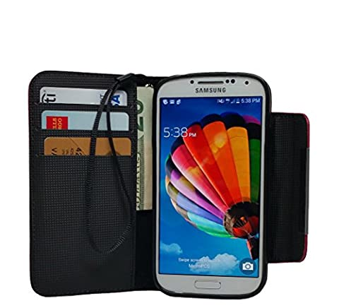 MXX PU Leather Wallet Case with Card Holder and Magnetic Clasp for Samsung Galaxy S4 - Black (Galaxy S4 Cases With Card Holder)