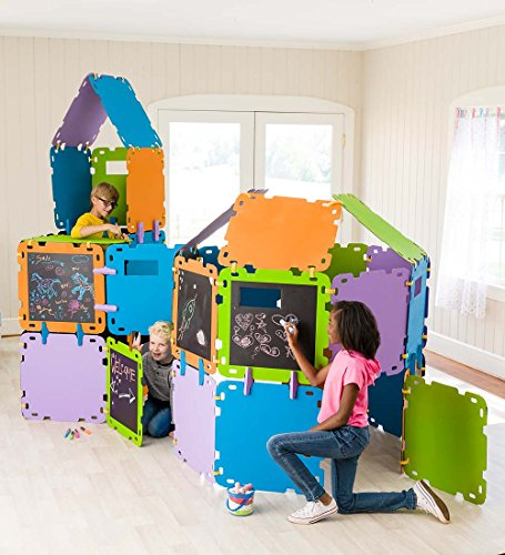 HearthSong 732128 Fantasy Fort Building Kit with Chalkboard Panels - Velcro Connectors - Carton Building Clips - Includes 16 Panels - Each Panel Measures 22 W X 22 H, Multicolor