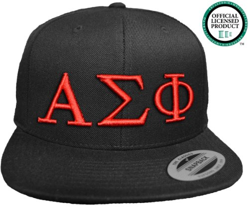 ALPHA SIGMA PHI Flat Brim Snapback Hat Red Letters / Alpha Sig | Fraternity Cap