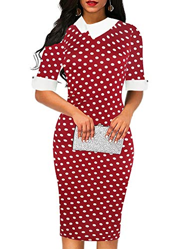 oxiuly Women's Vintage Polka Dot Patchwork Work Bodycon Pencil Sheath Casual Dress OX276 (M, Wine Dot)
