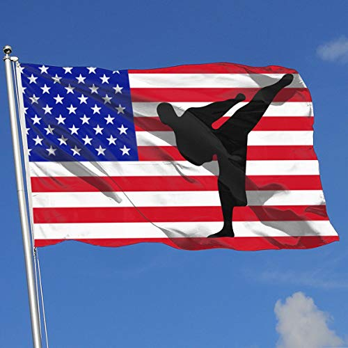 JQDAPaflag Karate Silhouette Breeze Flag 3 X 5-100% Polyester Single Layer Translucent Flags 90 X 150CM - Banner 3' X 5' - Silhouette Parade