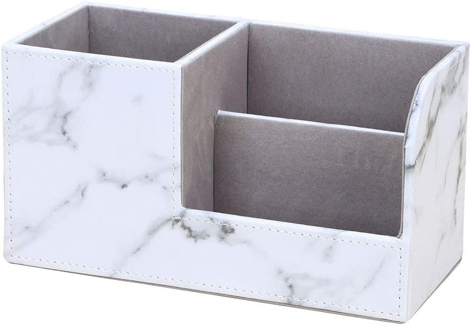 Marble Vein Desktop Organizer, Doraking Non-Slip Middle PU Leather Marble Vein Desktop Storage Box Organizer Pencil Holders (White)