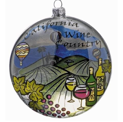 California Wine Country Glass Ornament