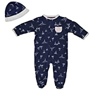 Little Me Boys Navy Blue Sailboat Footie Pajamas Footed Sleeper and Hat 3 Months
