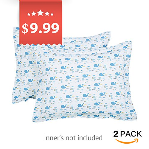 TILLYOU Toddler Travel Pillowcase Pillow Sham 16x20 2 Pack 100% Cotton Cozy Pillow Cases for Pillows Sized 14x19 15x20, Whale & Fish Blue from TILLYOU