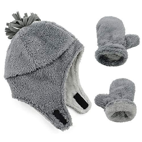 Zando Baby Boy Sherpa Lined Warm Fleece Pilot Hat Infant Toddler Winter Hat Mitten Set