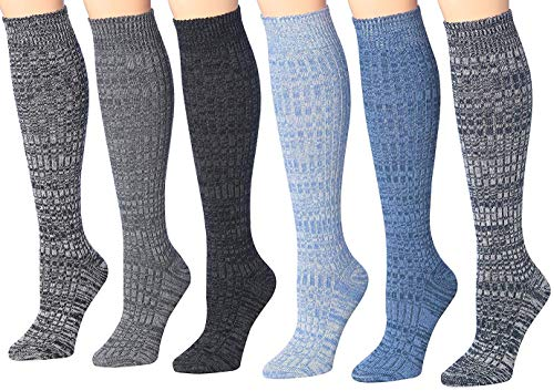 Tipi Toe Women's 3 Or 6-Pairs Ragg Marled Ribbed Mid-Calf High Wool-Blend Boot Socks (6-pairs (WK02-DE))