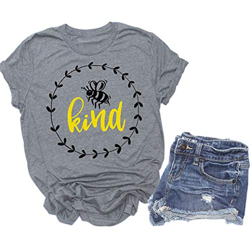 Anbech Bees Kind T Shirt Women Cute Graphic Short Sleeve Baseball Casual Tee Tops (S, Gray1) ()