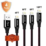 End Tip Bear 20kg Force, 4A Heavy Duty, Agvee Gloss Metal 4 Pack 4ft 6ft 6ft 10ft 8 Pin Cable Jean Braided Durable Fast Cord to USB in Car Charging Work with iPhone 5 6 7 8 X Case Friendly