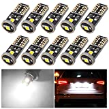 Aucan 10pcs Super Bright 3030 Chipset LED Bulbs for Car Interior Dome Map Door Courtesy License Plate Lights Compact Wedge T10 168 194 2825 921 Xenon White