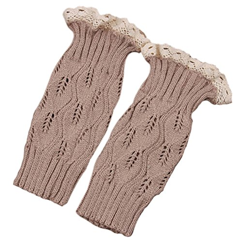 Bluelans® Womens Knit Lace Trim Leg Warmers Boot Stockings Socks Beige TDfQYcpH