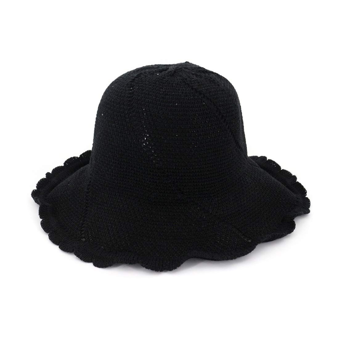 Beach Hat for Ladies Women Spring Summer Sunhat Foldable Bucket Cap (color   Black, Size   M)