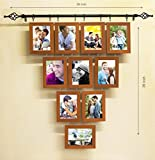 Painting Mantra Chandelier Family Tree Hang on a Rod MDF Wood Photo Frame (Brown,Set of 10 Photo Frames)