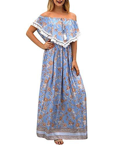 Dames Plage Bohme Jupe Princesse Hors de L'paule Taille Haute  Imprim Floral Robe Bleu