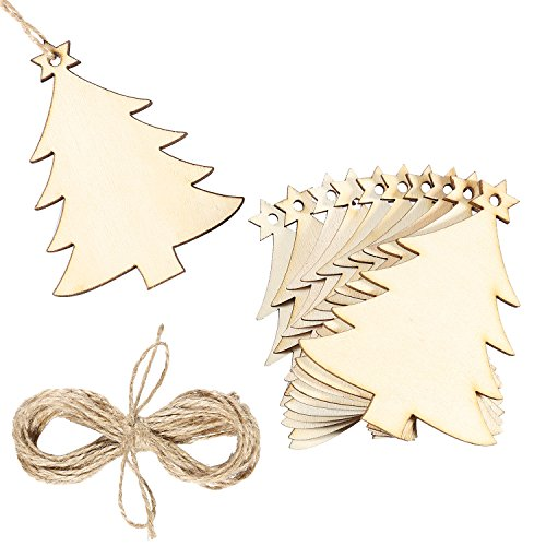 Aneco 20 Pack Wooden Christmas Tree Cutouts Christmas Tree Embellishments Hanging with Crafts Twines