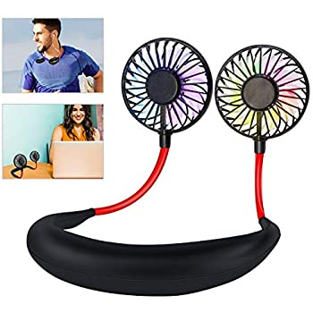 Leipple Neck Fan Portable- Neckband Fan USB Charging Hand Free - Personal Mini Sport Fan - Rechargeable with 3 Speeds Adjustable and LED Light for Sports Travel Outdoor Office Reading