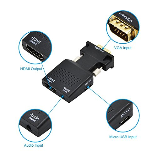 ValinksVGA Male to HDMI Female Converter Adapter Full HD 1080P,VGA to HDMI Audio Video Converter with 3.5mm Audio Port & USB Power Cable for Computer, Desktop, Laptop, PC, Monitor, Projector by VAlinks (Image #2)