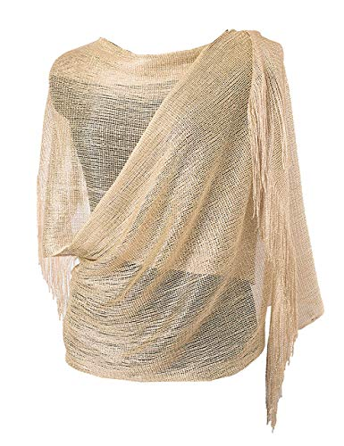 MissShorthair Womens Wedding Evening Wrap Shawl Glitter Metallic Prom Party Scarf with Fringe (Metallic Champagne)
