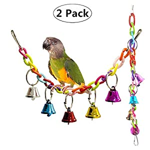 Carnatory 2 Pack Birds Toy Parrot Hanging Swing Rings Balls Toy Pet Bird Parrot African Greys Budgies Parakeet Cockatiels Cockatoo Conure Macaw Lovebird Cage Chew Toy 8