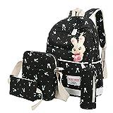 ❤️ Clearance 4 Sets Backpack Shoulder Bag Handbag Wallet Women Girl Rabbit Animals Travel Backpack School Bag Duseedik