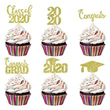 24Pcs Glittery Congrats Grad Class of 2020 Graduation Cupcake Toppers- 2020 Graduation Party Decorations/Grad Party Cake Decor/Graduation Cupcake Decor