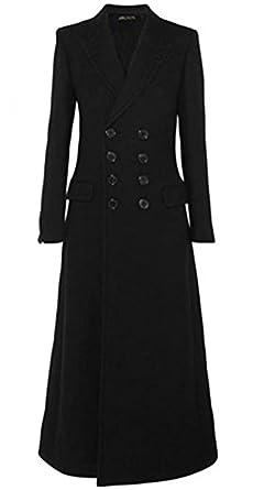 8adc0cbaf008 Damen Winter Herbst Elegant Mantel Klassische Mode Zweireihig Trenchcoat  V-Auschnitt Revers Maxi Lang Wollmantel