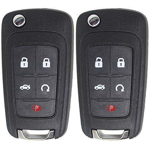 2Pcs Remote Key Shell,Mushan Keyless Entry Fob Replacement (ONLY CASE) 5 Button Uncut for for 2010-2014 Chevrolet Camaro Cruze Equinox Impala Malibu, 2010-2015 GMC Terrain,2010-2015 Buick (Chevrolet Malibu Impala)