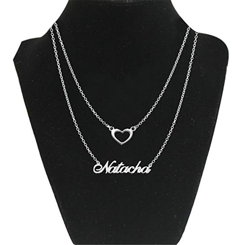 Freehahaha 925 Sterling Silver Personalized Double Chain Name Necklace with Heart Pendant Custom Made with Any Name