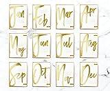 2018 Desktop Three Letter Calendar, 2018 Calendar, Real Gold Foil, Minimal Calendar, Card Stock Paper, Modern Calendar, Christmas Gift Idea