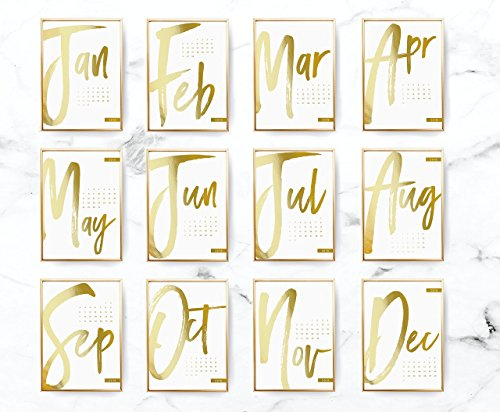 2018 Desktop Three Letter Calendar, 2018 Calendar, Real Gold Foil, Minimal Calendar, Card Stock Paper, Modern Calendar, Christmas Gift Idea by Lovely Decor