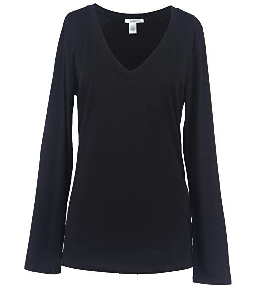 cc4d7c9fa2fd Olamari Junior Plus Size Solid Plain Long Sleeve V Neck Tee Shirt Top, 1XL,