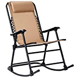 Goplus Folding Rocking Chair Recliner w/Headrest Outdoor Portable Zero Gravity Chair for Camping Fishing Beach (Beige)