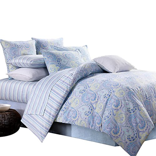 3Pcs Paisley Bedding Design 800 Thread Count 100% Cotton Sateen Duvet Cover Set,Full Size,Blue
