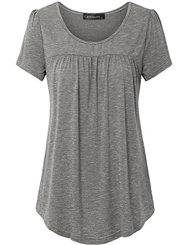 Vinmatto Women's Scoop Neck Pleated Blouse Top Tunic Shirt (M, Coffee)