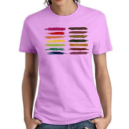 (Jac Jie Women's Cotton Short-Sleeved T-Shirt New Original Design Painted Logo Pink S)