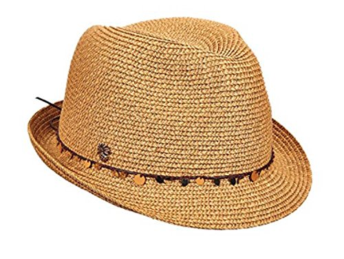 Tommy Bahama Women's Sequins Paper Braid Fedora Hat, Toast, (Paper Braid Fedora Hat)