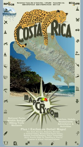 Costa Rica: Waterproof Travel Map of Costa Rica