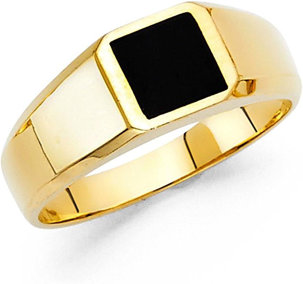 Square Onyx Ring Solid 14k Yellow Gold Mens Band Black Stylish Plain Design Polished Finish Fancy
