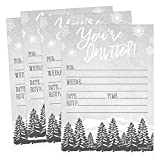 25 Woodland Christmas Holiday Invitations, Snowflake Winter New Years Bridal Or Baby Shower Invite Adult Kids Birthday Invitation Wedding Rehearsal Dinner Invites, Reception Anniversary, Housewarming