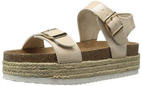 Qupid Women's Geona-02 Espadrille Wedge Sandal, Nude Patent Polyurethane, 5 M US